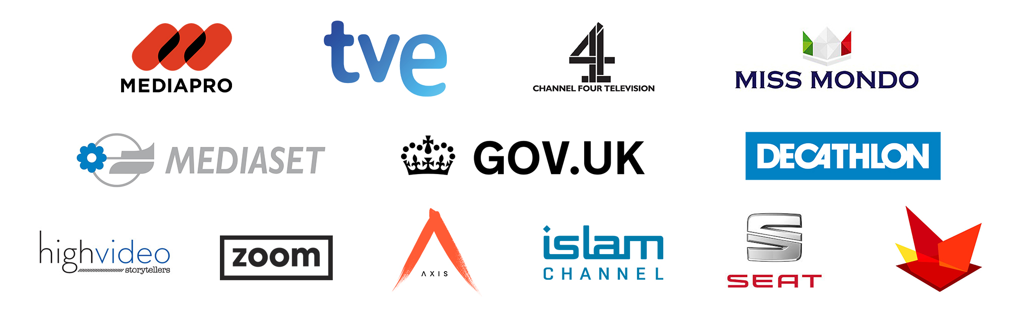 Mediapro, tve, channel four, miss mondo, mediaset, decathlon, highvideo, zoom, seat, islam channel, axis, television